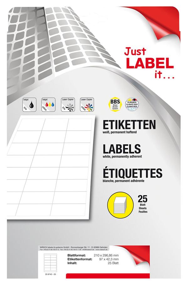 Schneider Etiketten selbstklebend 97 x 42,3 mm - 25 Blatt