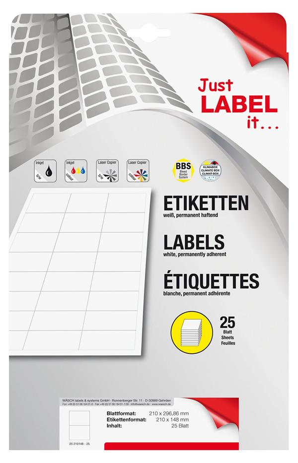 Schneider Etiketten selbstklebend 208,4 x 147,63 mm - 25 Blatt