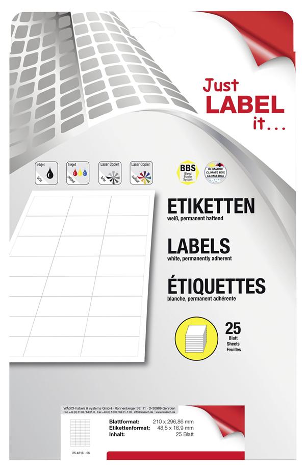 Schneider Etiketten selbstklebend 48,5 x 16,9 mm - 25 Blatt