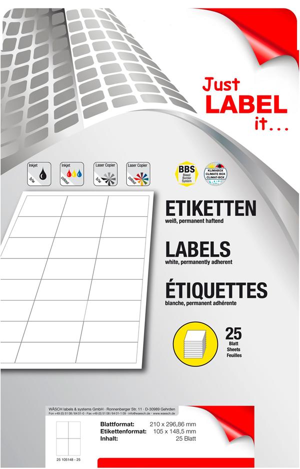 Schneider Etiketten selbstklebend 105 x 148,5 mm - 25 Blatt