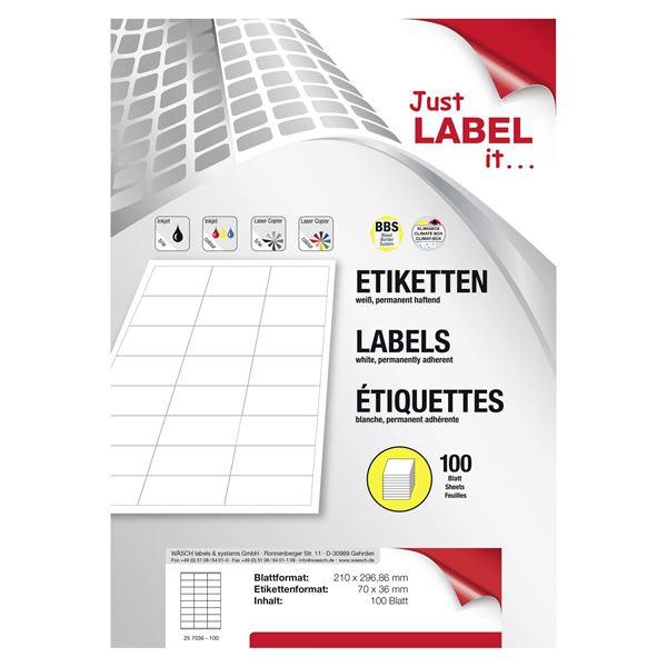 Wäsch Etiketten selbstklebend 36 mm  x  70 mm Weiß - 100 Blatt