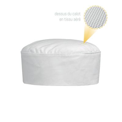 Calot De Cuisine Blanc Tissu Aere Et Ajustable Manelli Metro