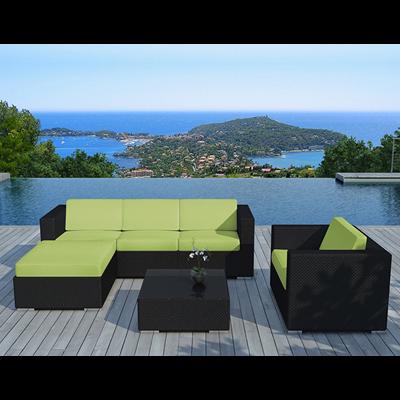 Salon de jardin 6 éléments en résine noire coussins verts DELORM | METRO