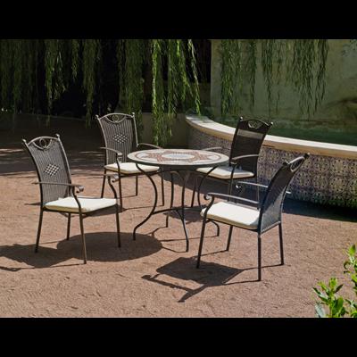 Salon de jardin résine métal et mosaïque Aney Beldey HEVEA | METRO