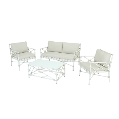 Salon de jardin Eloy alu blanc 4 personnes Rotin Design ...