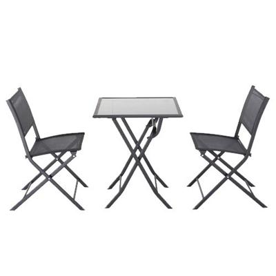Set San Torini 2 chaises + 1 table noires | METRO