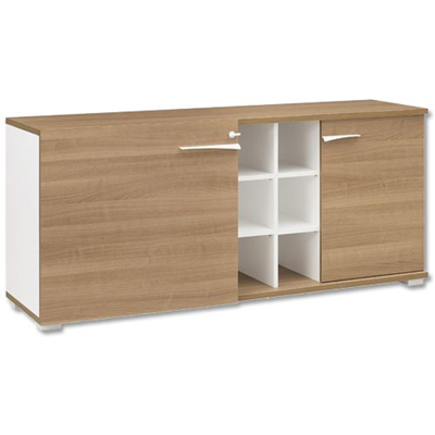 Armoire Basse De Bureau Portes Coulissantes Et Battantes 6 Niches