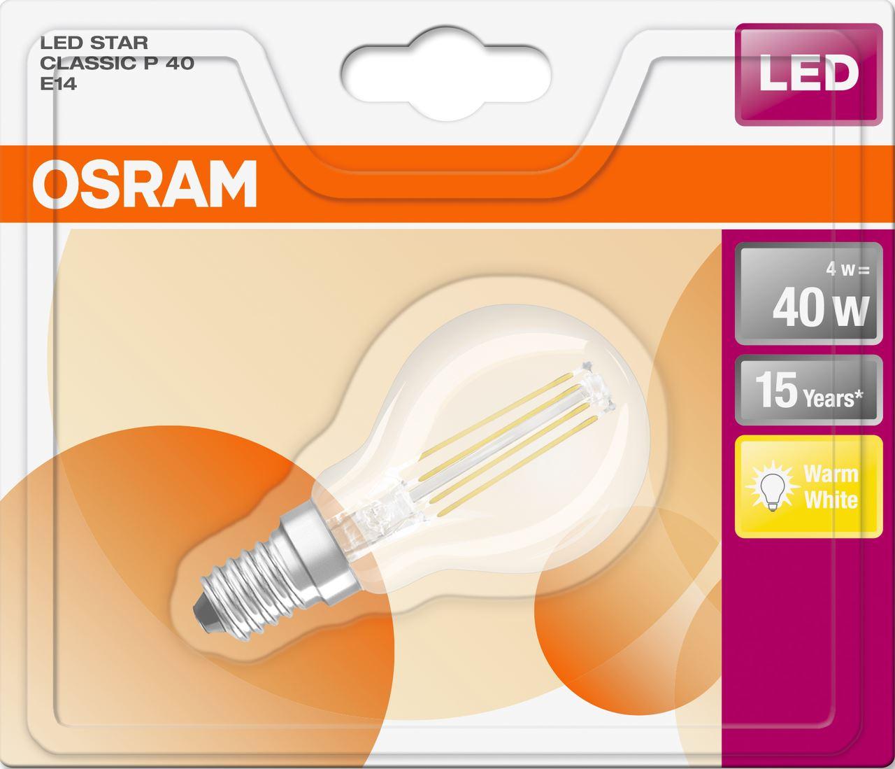 Ampoule LED claire forme sphère blanc chaud 4/40W E14 Osram