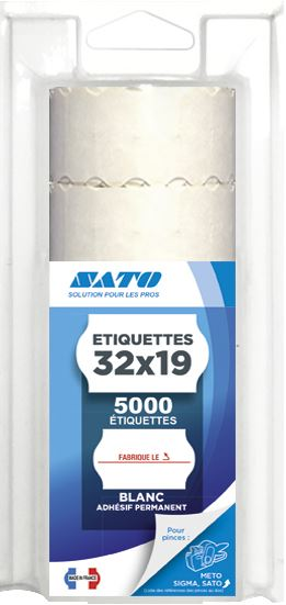Etiquette Fabriqué Le blanc 3.2 x 1.9 cm x 5000 Sato