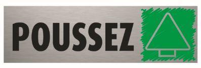 Plaque de porte Poussez PVC aluminium 5 x 17 cm Bequet