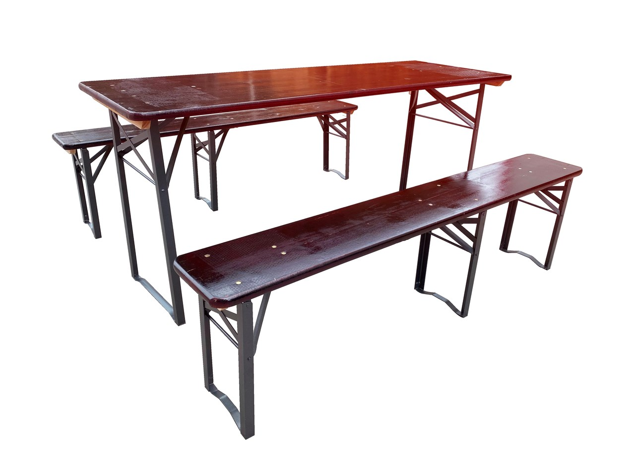 Tavoli Panche Birreria Offerte.Redi Set 1 Tavolo 2 Panche Struttura In Ferro E Piani In Legno