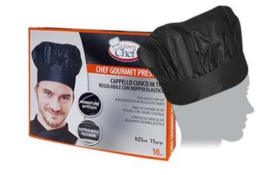 ... Prestige 25 ch tnt 10 in viscosa nero. Crown Chef Cappello chef gourmet.  Cappello Chef Gourmet a8c45d49bc62