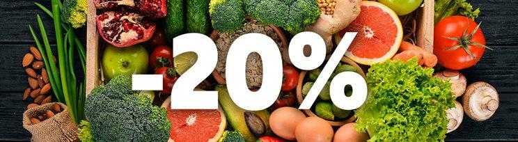 20% отстъпка за плодове и зеленчуци