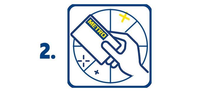 2. Сканирай своята МЕТРО карта на специалните устройства, разположени в магазина.