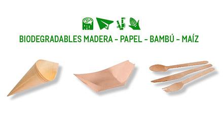 Elementos desechables de madera y bambú