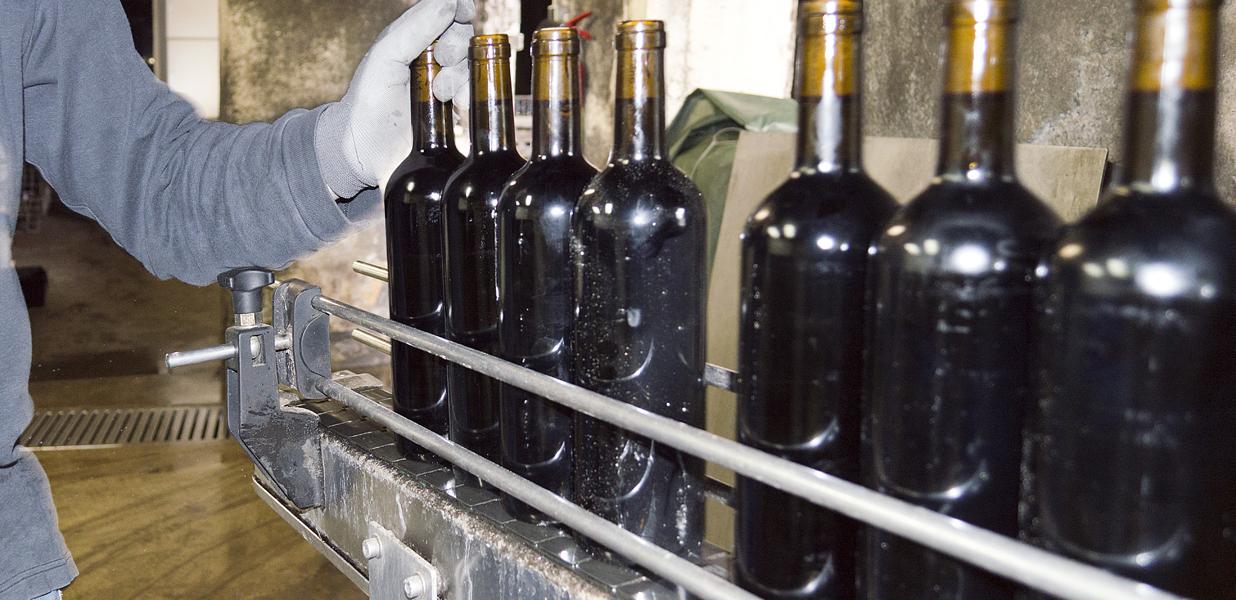 Mise en bouteille de vin rouge dans une production locale