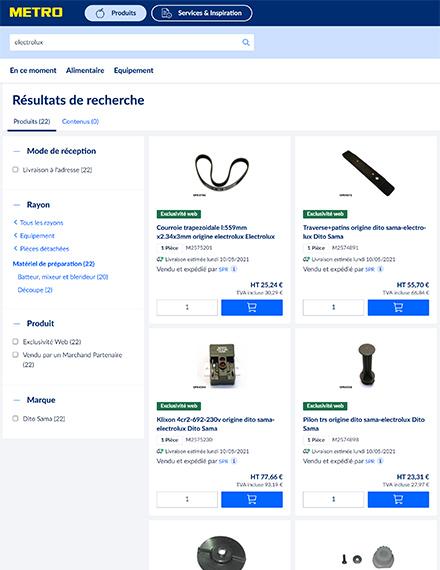 Recherche de pièces détachées sur e-shop METRO