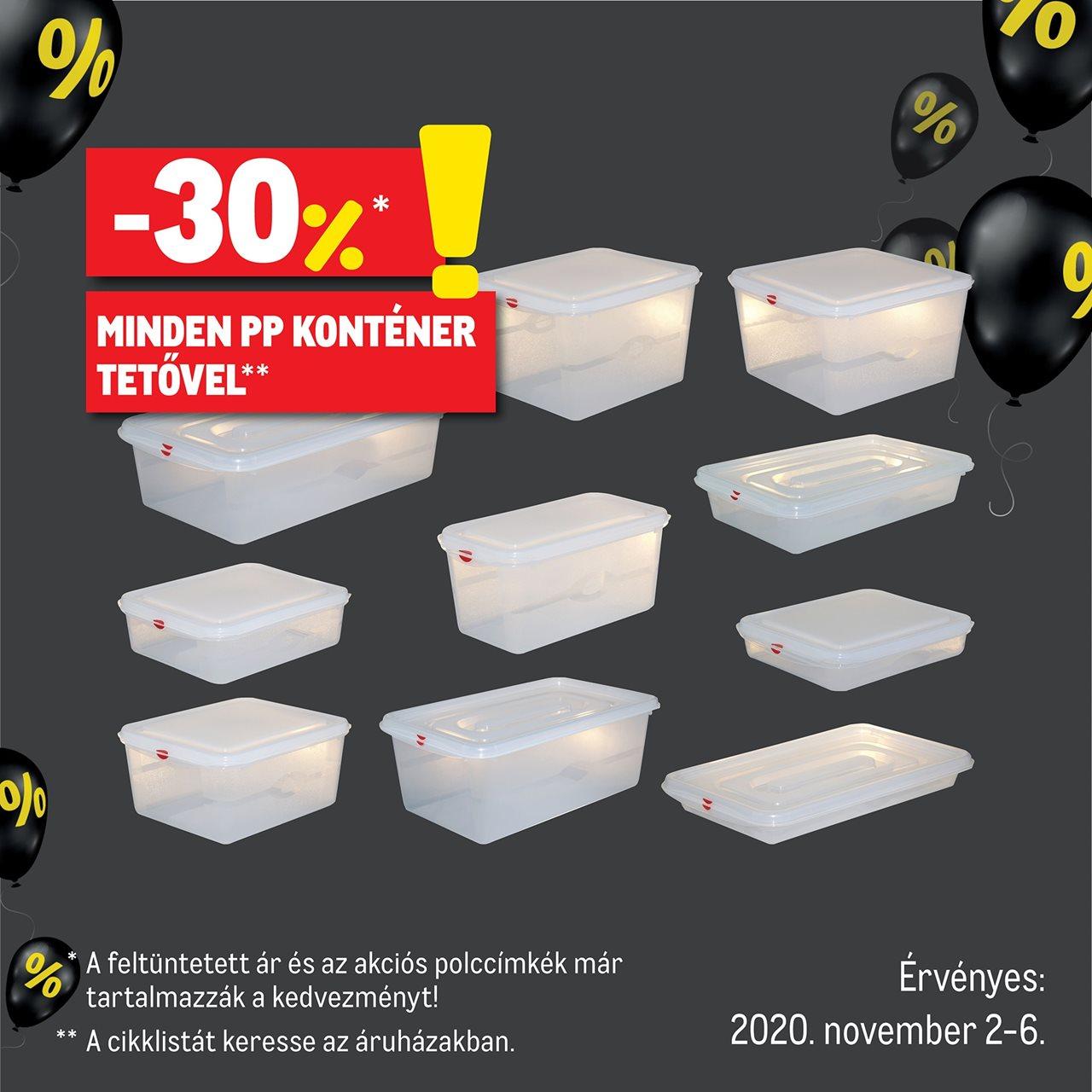 Minden PP konténer tetővel -30 % kedvezménnyel kapható!