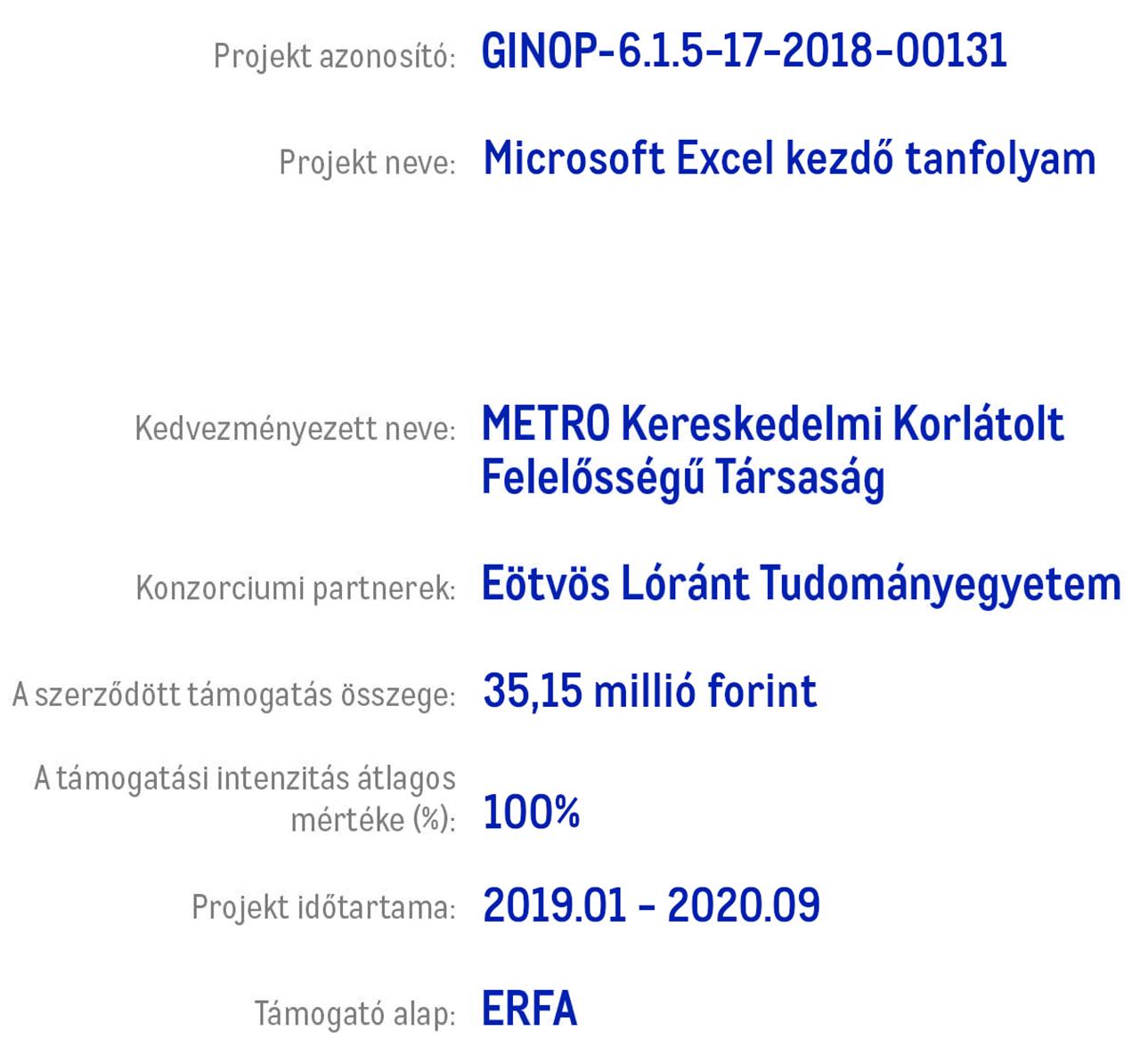 Microsoft Excel kezdő tanfolyam