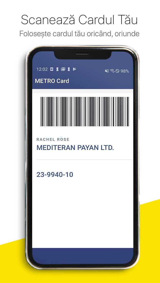 Scaneaza codul de pe mobil, card mobil