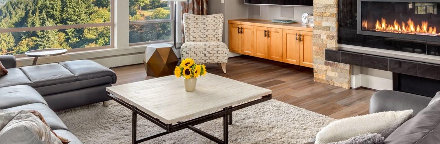 Sufragerie cu mobila, decoratiuni de masa, televizor HD