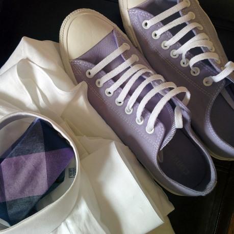 incaltaminte metro violet, camasa asortata authentic