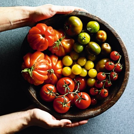 maini care tin un bol de lemn cu rosii - tomate mari, galbene,mici, rosii, verzi