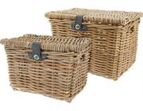 Košíky na piknik prútie a kožené remienky sada 2ks