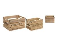 Debničky mangové drevo kovové madlá sada 3ks