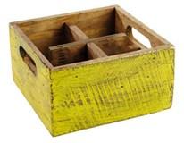 Box Vintage drevo 17x17cm žltý 1ks