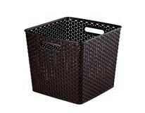 """Box úložný rattan plast """"y"""" style XL tmavo hnedý 1ks"""