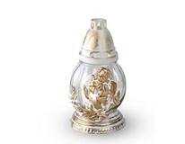Lampa náhrobná  kvety biela-zlatá 1ks