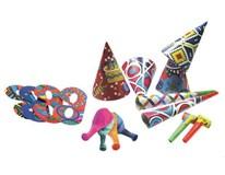 Párty set pre 4 osôby (čiapky,masky,balóny,trúbky,píšťalky)