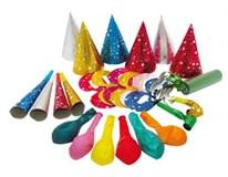 Párty set pre 6 osôb (čiapky,masky,balóny,trúbky,píšťalky)