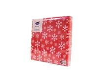 Servítky papierové Červené vločky 3-vrstvové 33cm Harmony 20ks