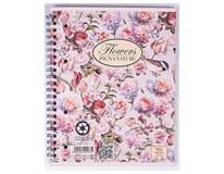 Blok špirálový A5/60listov linajkový Nature Flowers Pigna 1ks
