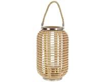 Lampáš oválny bambus kov/sklo s držadlom 18x30,5cm 1ks
