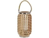 Lampáš oválny bambus kov/sklo s držadlom 24,5x38cm 1ks
