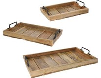 Podnosy servírovacie mangové drevo a kov prírodný povrch sada 3ks