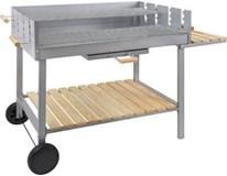 Gril na drevené uhlie strieborný nehrdz. oceľ 130x60x89cm Metro Professional 1ks