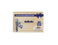 Gillette Wooden Box holiaci strojček+ voda po holení + uterák+ hrebeň