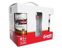 Budvar pivo 12% 5x500 ml+ pohár PLECH
