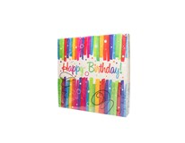 Obrúsky Happy Birthday pruhované 33x33 cm 16 ks