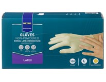Rukavice latexové nepúdrované biele veľkosť L Metro Professional 100ks