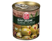 Fine Life Olivy zelené s paprikovou pastou 4x200 g