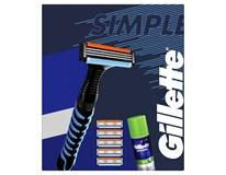 Gillette Simple darčeková sada (žiletka+6 náhr.hlavíc+gél na holenie)