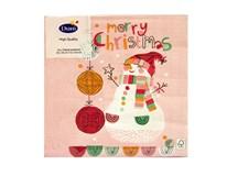 Servítky papierové Happy Snowman Merry Christmas 3-vrstvové 33cm Duni 20ks