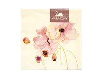 Servítky papierové Aquarel pink flower 3-vrstvové 33cm Harmony 20ks