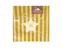 Obrúsky papierové Star on cream and gold stripes 3-vrstvové Harmony 20ks