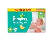 Pampers active baby mega pack+ S4 detské plienky 1x90 ks